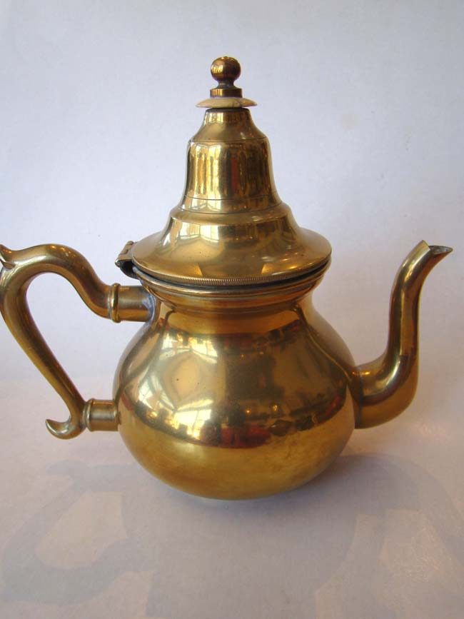 click to view larger image of A beautiful brass pear shaped teapot, probably Dutch, circa 1820