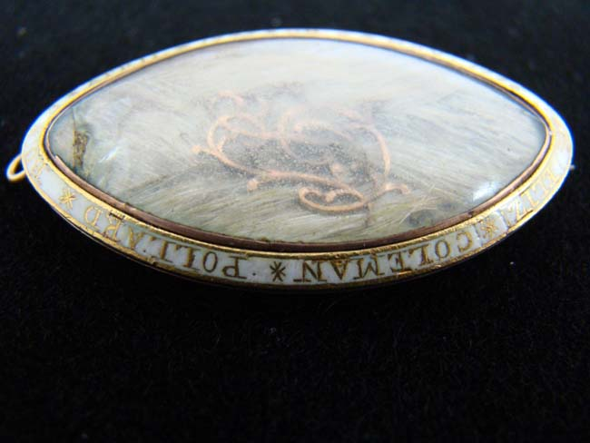 click to view larger image of A 1776 Dated and Inscribed   Gold Memorial Pinback Broach with encased lock of  hair belonging to Elizabeth Coleman Pollard who died at the age of one.