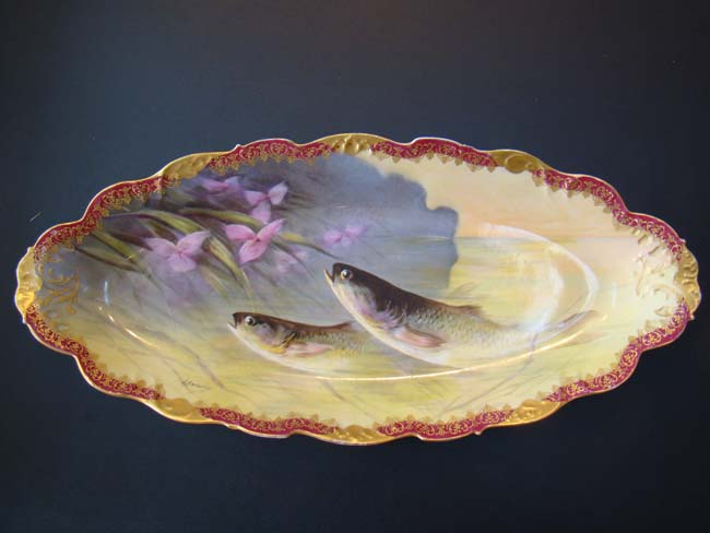 click to view larger image of A FABULOUS antique hand painted fish service by Elite Works of Limoges, France circa 1890-1900