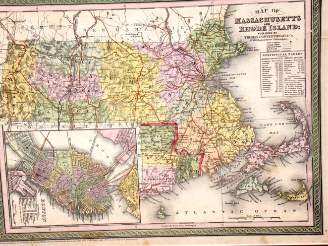 click to view larger image of Original hand colored map of Massachusetts & Rhode Island published in 1850
