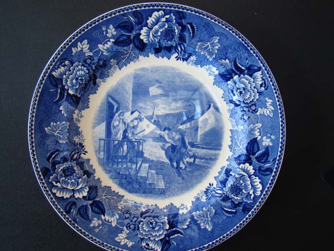 click to view larger image of A rare plate commemorating the ride of PAUL REVERE on April 18, 1775 made by Wedgwood