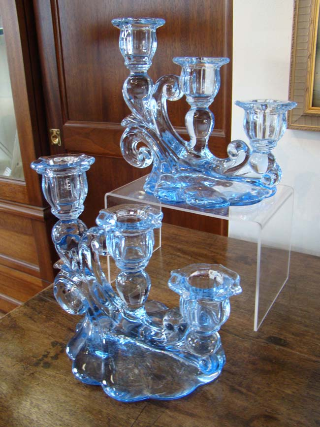 click to view larger image of A fine pair of vintage Cambridge Glass triple candleholders circa 1930