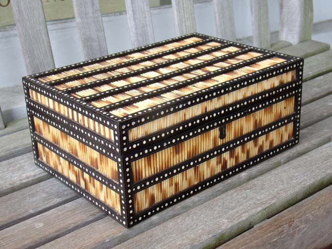 click to view larger image of A fine 19th century Porcupine quill, ebony and inlaid ivory trinket or jewelery box