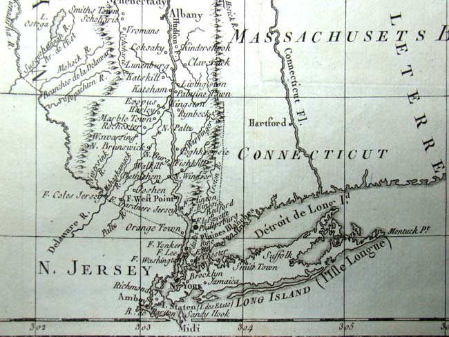 click to view larger image of A Revolutionary War period map showing all the towns and forts from Long Island to Vermont published in 1782