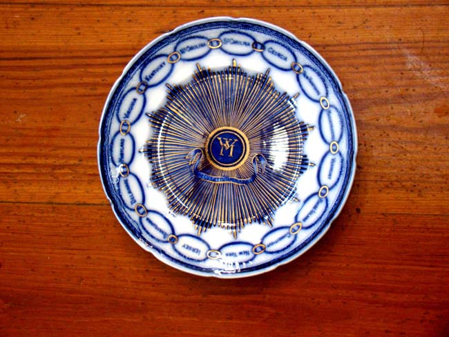 click to view larger image of A magnificent flow blue plate adapted from the dinner service given to Martha Washington in 1796