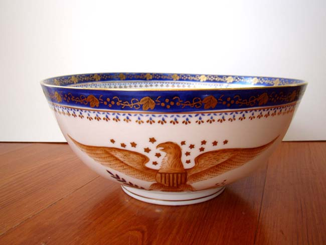 click to view larger image of A Chinese Export 'style' American Federal Spread Wing Eagle bowl with gilt decoration
