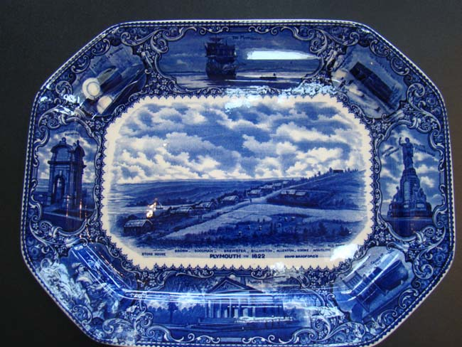 click to view larger image of A fine and rare blue transfer printed Commemorative platter made in 1908 featuring Plymouth Plantation and the Pilgrims