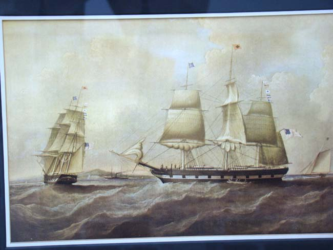 click to view larger image of A later reprint of the famous painting of the Packet ship William Penn launched in 1791