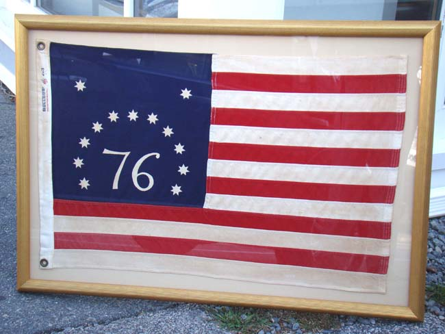 click to view larger image of A fine vintage American flag sometimes referred to as the Bennington flag or the Spirit of 76 flag