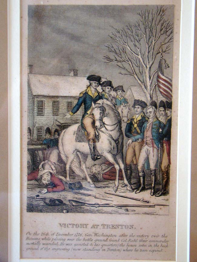 click to view larger image of A fine late 18th century hand colored engraving of Washington's Victory at Trenton 26 Dec.1776