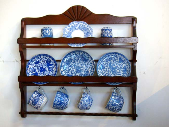click to view larger image of A charming early 20th century miniature plate rack with Japanese