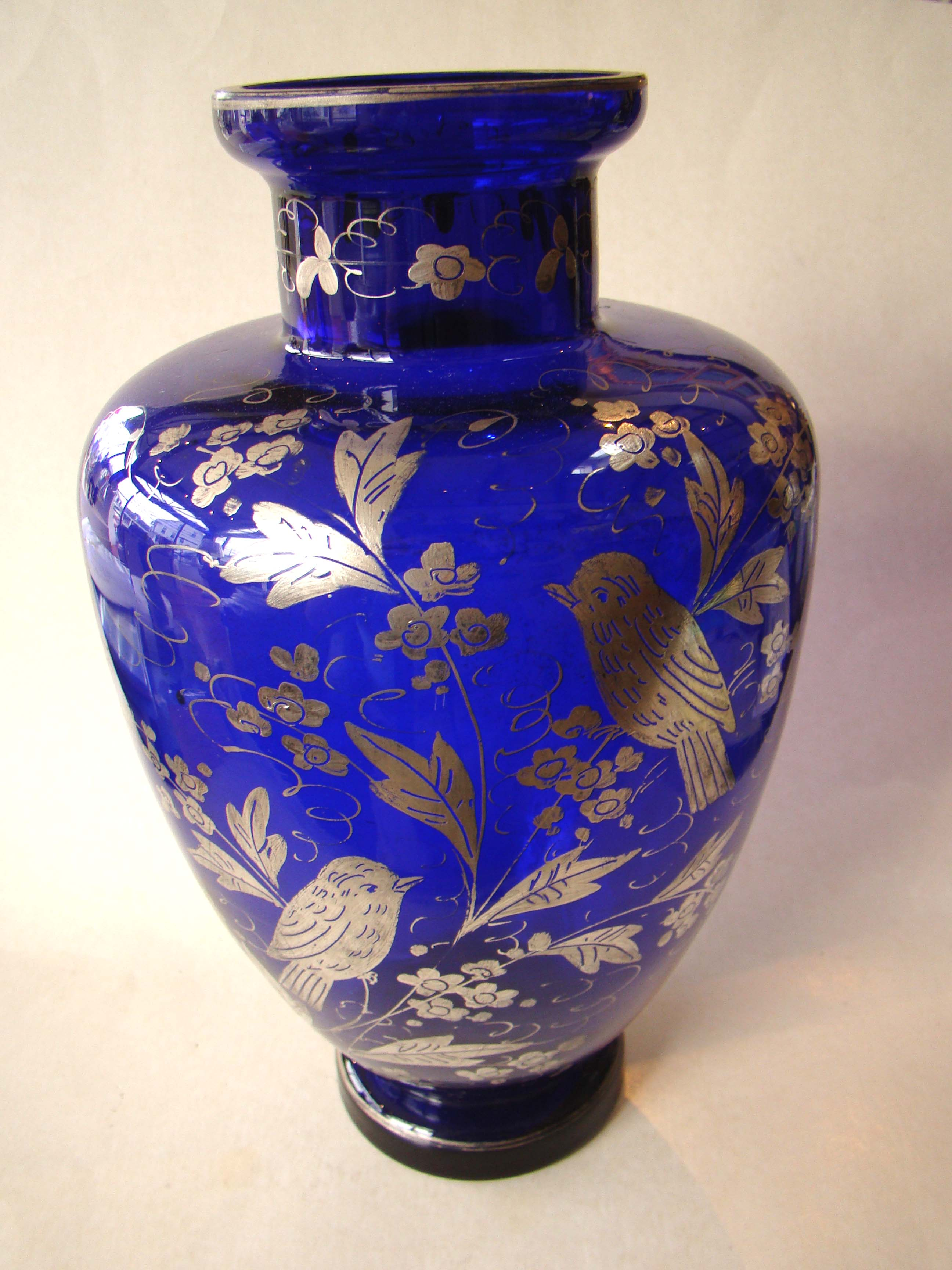 click to view larger image of A stunning vintage colbalt blue silver overlay vase
