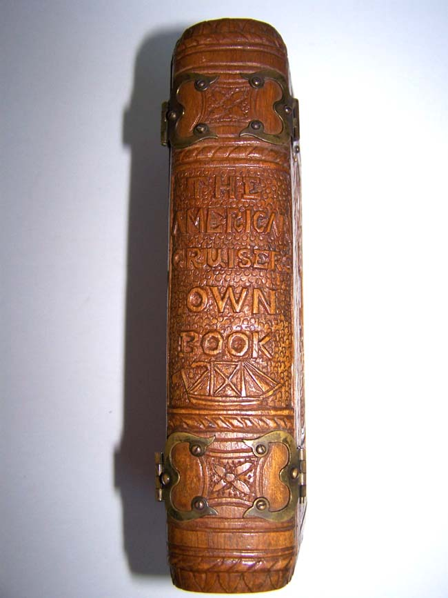 click to view larger image of  A rare 19th century carved Wood Three Piece Book Cover for