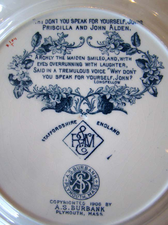 click to view larger image of A fine and rare Priscilla and John Alden commemorative plate made in 1906 by Rowland and Marsellus