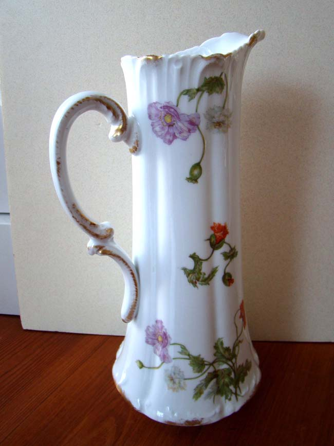 click to view larger image of A fine and rare hand painted French Limoges porcelain ewer made between 1892-1900