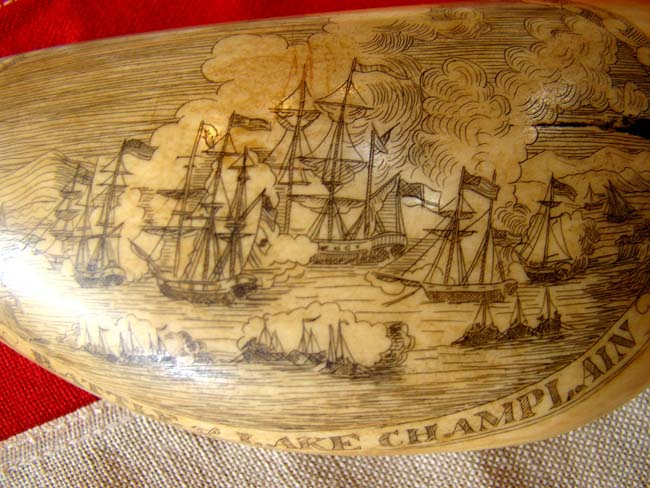 click to view larger image of A beautiful late 19th or early 20th century patriotic themed scrimshawed whale's tooth