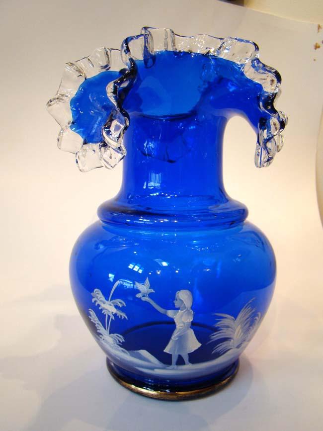 A Fabulous Mary Gregory Cobalt Blue Glass Vaseantique Porcelain