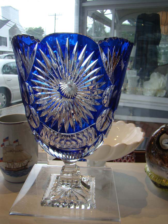 click to view larger image of A visually stunning cobalt blue cut crystal compote bowl