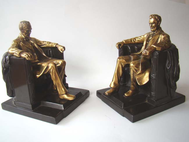 click to view larger image of A pair of 'Lincoln in the chair' bookends by Philadelphia Manufacturing Co., circa 1935