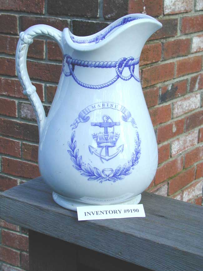 click to view larger image of Royal Navy Blue Transfer Mess Pitcher circa 1880