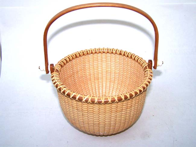 click to view larger image of A Beautiful Contemporary Nantucket Basket by noted Cape Cod artist Kathy Campbell