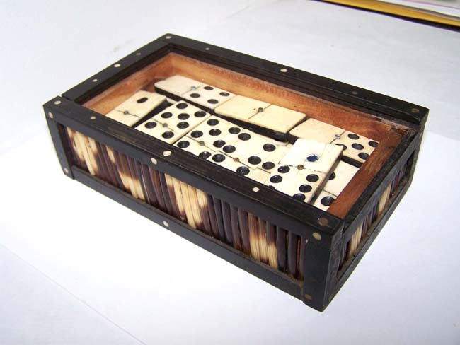 click to view larger image of A set of 19th century Bone and Ebony Dominoes in a Porcupine Quill and Ebony Box circa 1875