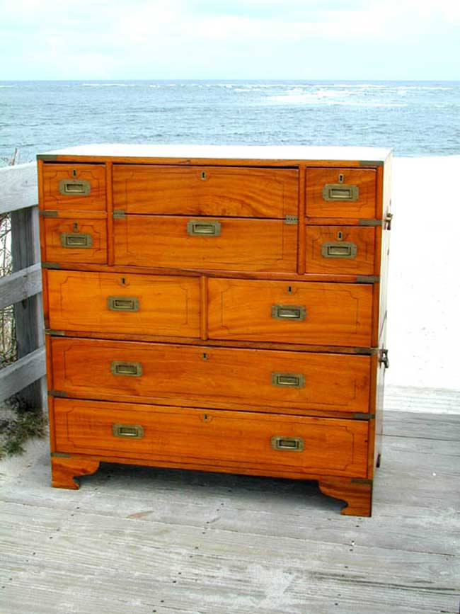 click to view larger image of Camphorwood Two-Part Campaign Chest With Secretaire circa 1830