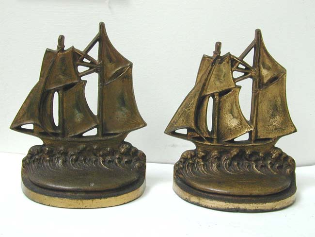 click to view larger image of A Pair of Antique Bookends by Bradley & Hubbard depicting a two-masted schooner circa 1925
