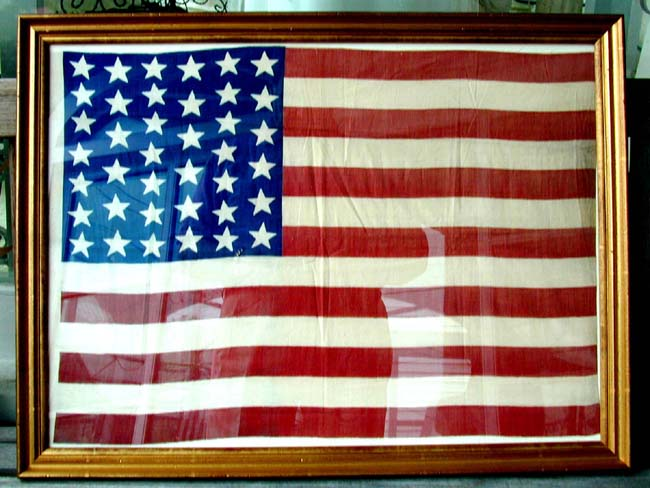 click to view larger image of A Fine and Rare 39 Star Flag circa 1889, now elegantly framed
