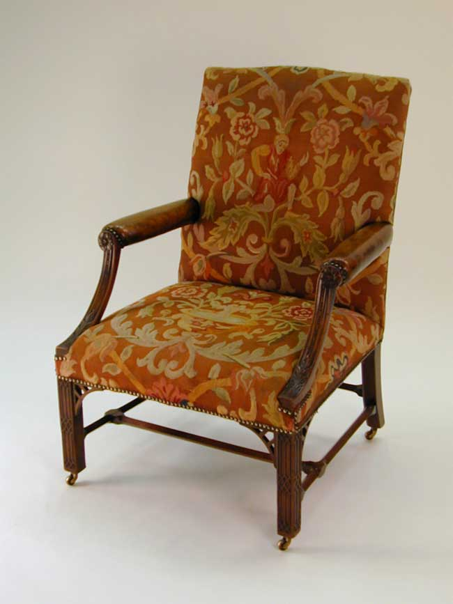 click to view larger image of Beautiful 19th Century Needlework Upholstered 'Gainsborough' Library Armchair