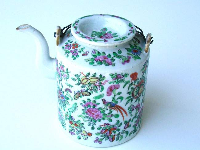 click to view larger image of A 19th Century Chinese Export Famille Rose Teapot