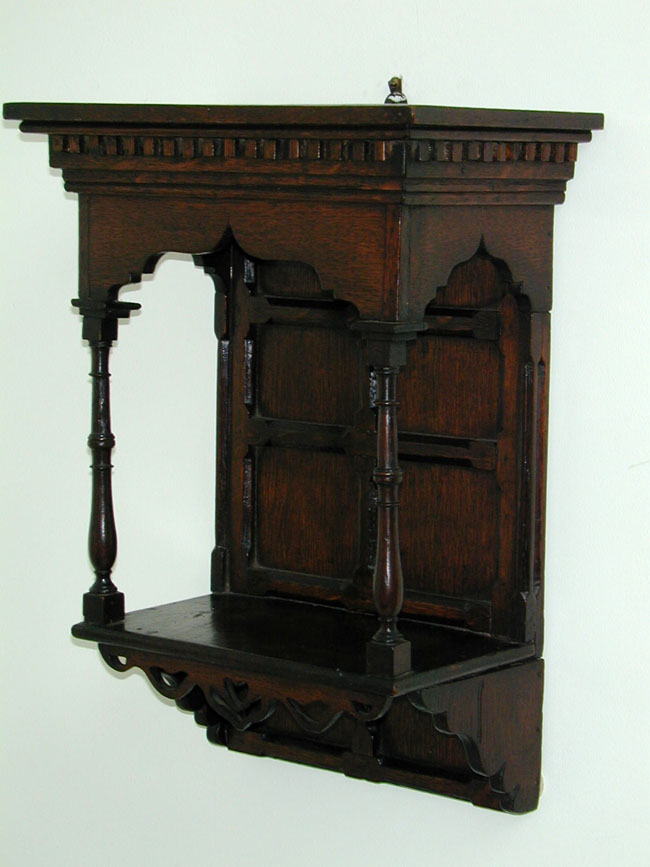 click to view larger image of A Small 19th Century English Oak Canopy With Shelf Circa 1870.