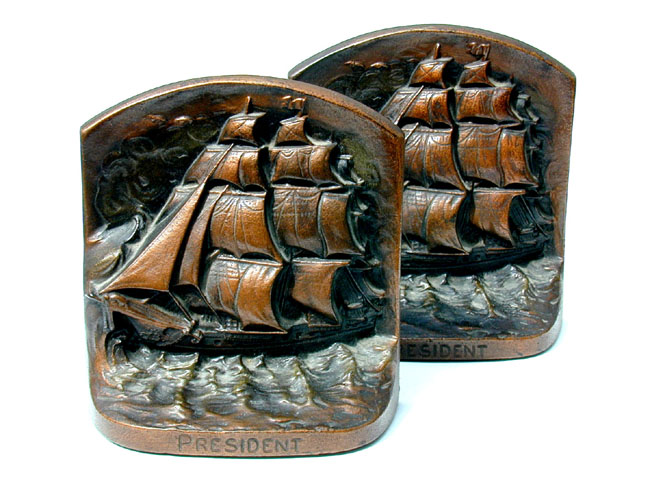 click to view larger image of Bronze Bookends Depicting The Clipper Ship  President circa 1900.