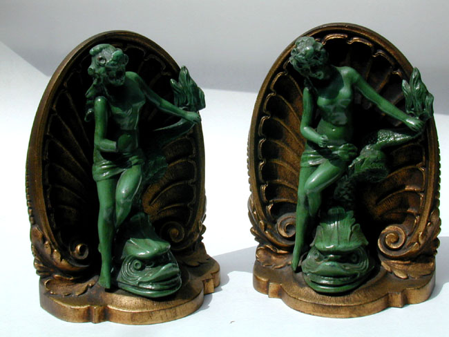 click to view larger image of A Fine and Early Pair of Bradley and Hubbard Bookends Circa 1880.