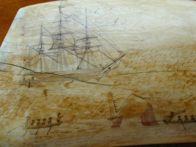 click to view larger image of Fine and Large 19th Century Scrimshawed Whale's Tooth Circa 1830