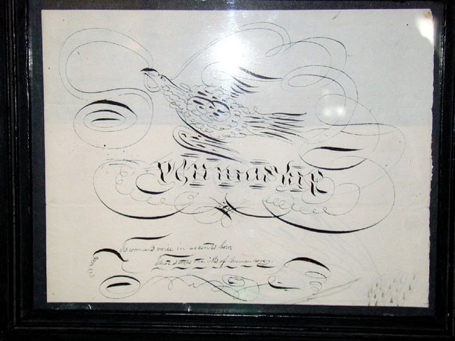 click to view larger image of A 19th Century Calligraphic Pen and Ink Picture of an Eagle