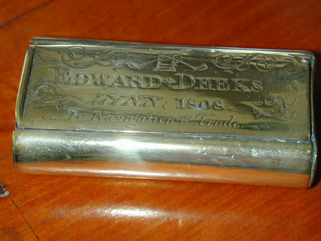 click to view larger image of An Engraved Brass Tobacco Box inscribed