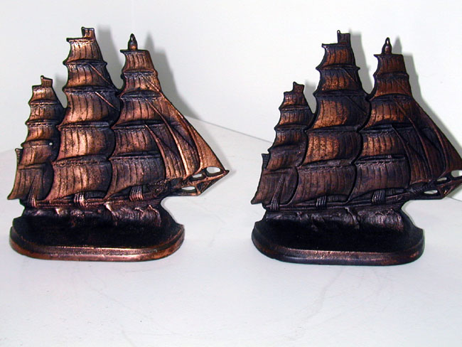 click to view larger image of Clipper Ship Bookends made in 1924