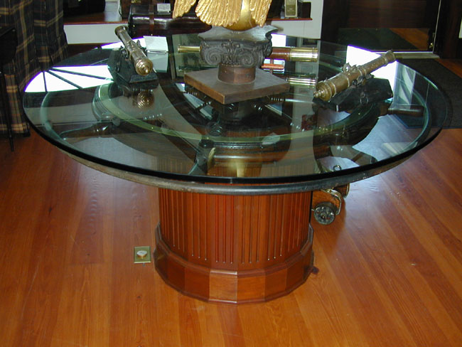 Click To View Larger Image Of Custom Designed Antique Shipu0027s Wheel  Breakfast Or Dining Table