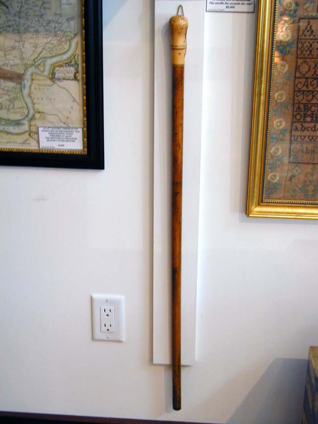 click to view larger image of An 18th Century Ivory Mounted Walking stick
