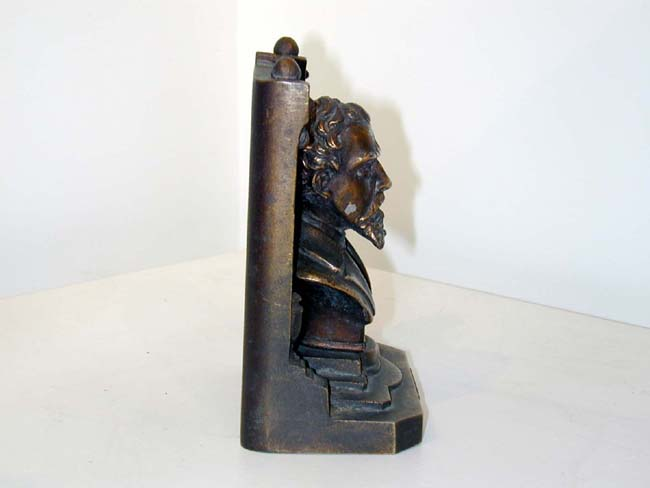 click to view larger image of A Fine Pair of Late 19th Century Charles Dickens Bookends by Bradley & Hubbard