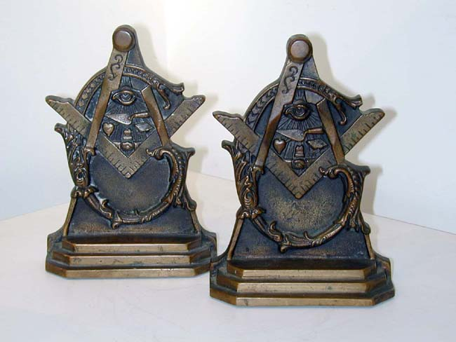 click to view larger image of Late 19th Century Masonic Bookends