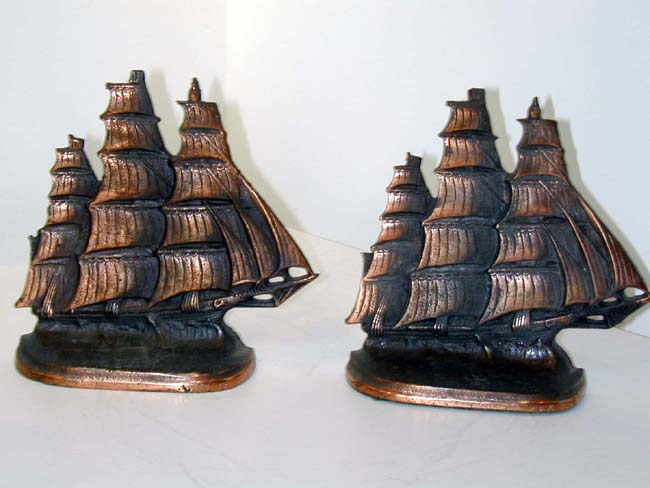 click to view larger image of Pair of Sailing Ship Bookends Circa 1924