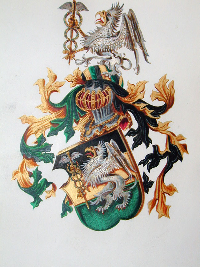 click to view larger image of Wonderful Late 19th Century Royal Grant of Arms Issued by King Karl of Prussia