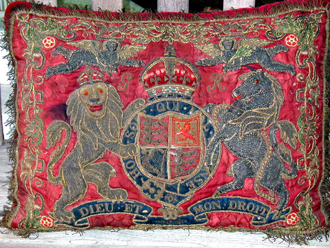 click to view larger image of Rare 18th Century English Embroidered Royal Silk Cushion