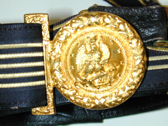 click to view larger image of Antique American Naval Officer's Hat, Epaulettes, Sword Belt and Case Circa 1890