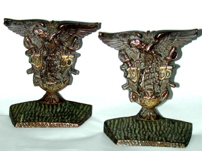 click to view larger image of Pair of U.S. Naval Academy Bronze Bookends Dated 1935