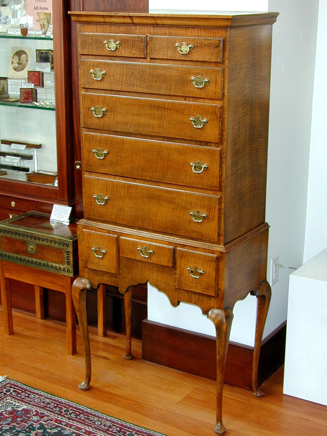 click to view larger image of A Charming Antique Queen Anne 'Tiger Maple' Flat-Top Childs Highboy