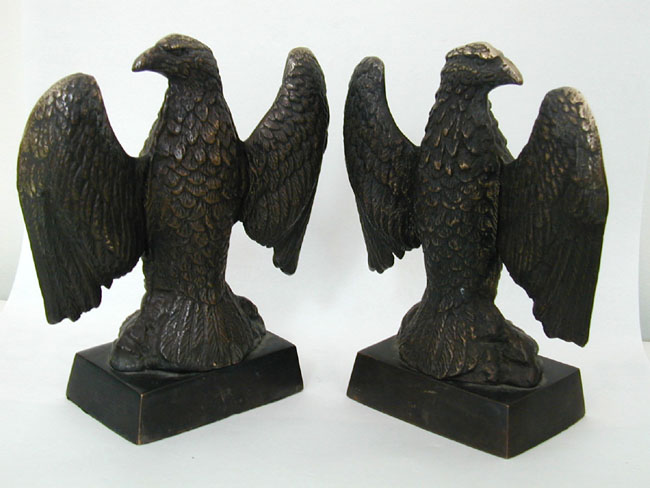 click to view larger image of Fine Pair of Late 19th Century Bronze Patriotic Eagle Bookends
