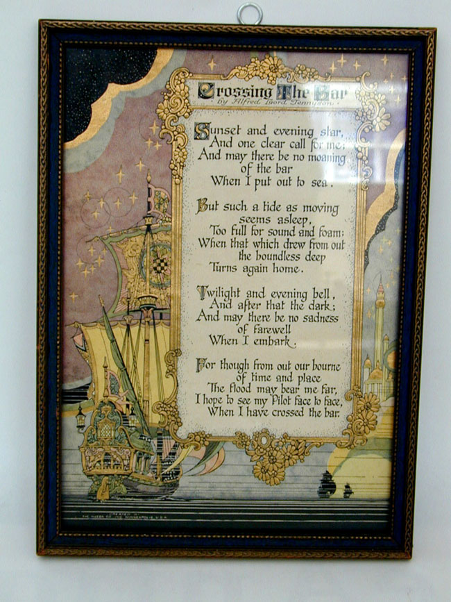 Framed Antique Art Deco Poem By Alfred Lord Tennyson Entitled Crossing The Bar Antique Paintings Maps Documents Photos